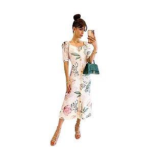 Vestido Midi Manga Bufante Com Botões Moda Evangélica