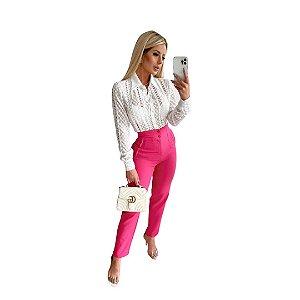 Calça Feminina Cós Alto Alfaiataria Com Pregas e Bolso