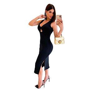 Vestido Midi Com Decote e Fenda Elegante