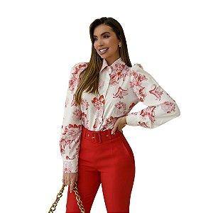 Camisa Feminina Social Seda Sem Bolsos Com Punho
