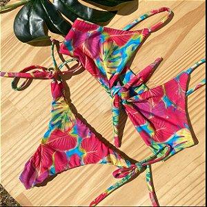 Top nó + calcinha clássica Tropicália Pink