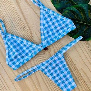 Cortininha fixa + calcinha baby Campos Azul