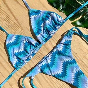 Cortininha móvel + calcinha clássica Missoni Azul