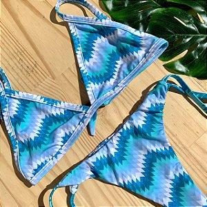 Cortininha fixa + calcinha clássica Missoni Azul