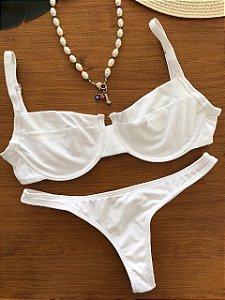 Top aro + calcinha fio normal Branco