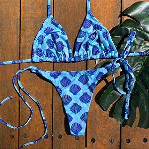 Cortininha móvel + calcinha clássica Concha Azul