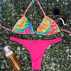 Cortininha móvel Tangerina + calcinha fio normal Rosa Neon G