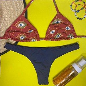 Cortininha móvel Amuleto Vermelho + calcinha fio normal Marinho M