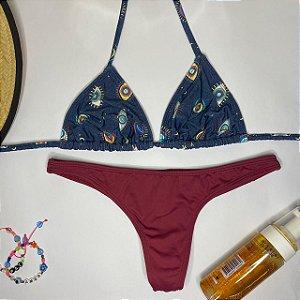 Cortininha móvel Amuleto Marinho + calcinha fio normal Cereja M