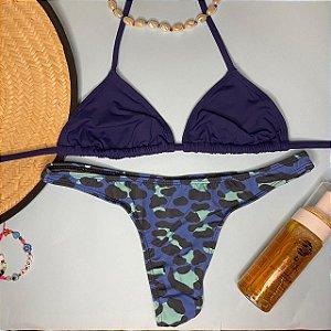 Cortininha móvel Marinho + calcinha fio normal Onça Azul G