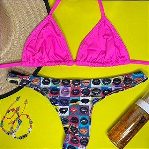 Cortininha móvel Rosa Neon + calcinha fio normal Pop Art G
