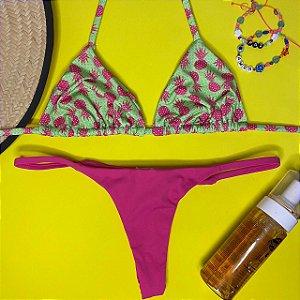 Cortininha móvel Abacaxi Verde + calcinha dupla Cabaret P