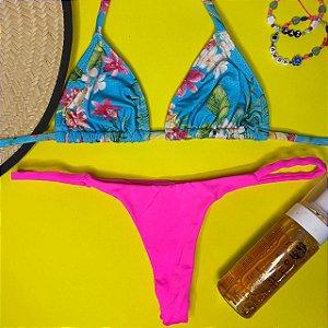 Cortininha móvel Parati + calcinha dupla Rosa Neon P