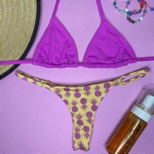 Cortininha móvel Purple + calcinha dupla Abacaxi Amarelo P