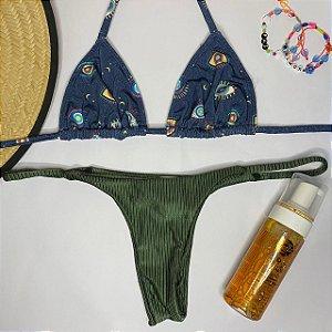 Cortininha móvel Amuleto Marinho + calcinha dupla Croco M