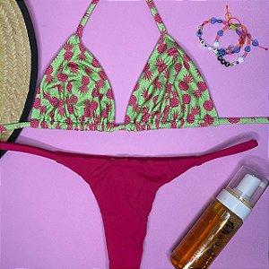 Cortininha móvel Abacaxi Verde + calcinha dupla Cherry G