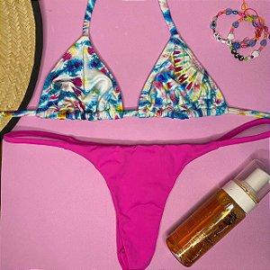 Cortininha móvel Caribe + calcinha dupla Pink Flour G