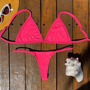Cortininha fixa + Calcinha dupla Hot Pink