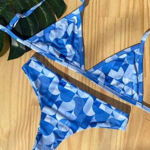 Cortininha fixa + confort Geométrico Azul