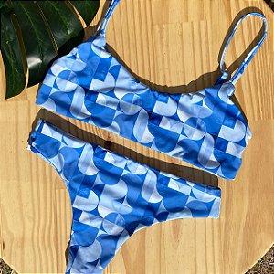 Top basic + calcinha confort Geométrico Azul