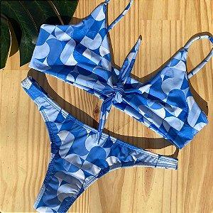 Top nó + calcinha fio normal Geométrico Azul