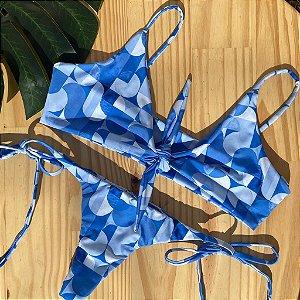Top nó + calcinha clássica Geométrico Azul