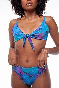 Top nó + calcinha confort Tropicália Azul