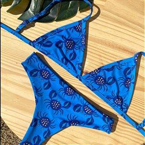 Cortininha fixa + calcinha confort Crab Azul
