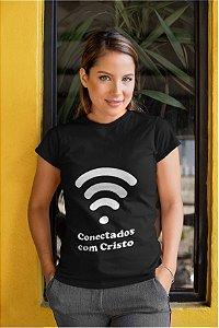 Camiseta Baby Look Conectados Com Cristo