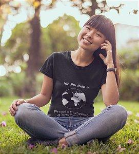 Camiseta Baby Look Ide Pelo Mundo