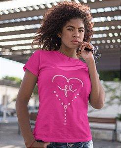 Camiseta Baby Look Fé Coração