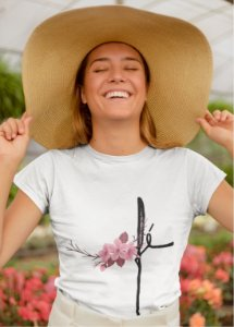 Camiseta Baby Look Fé Flor