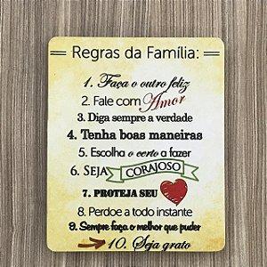 Quadro Decorativo Regras da Família