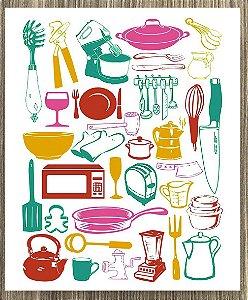 Quadro Decorativo Utensílios de Cozinha