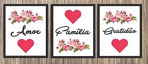 Quadro Decorativo Amor, Família e Gratidão - Trio