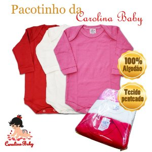 Pacotinho c/ 3 bodys Carolina Baby - Tam. Rn/P/M/G - Ref.:09412