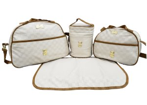 Kit Bolsa Maternidade Creme/Marrom c/ frasqueira térmica - 4 peças - Ref.:105354