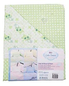 Jogo de lençol verde neutro 3 peças - 100% algodão - Linha Composê - Ref.:31220