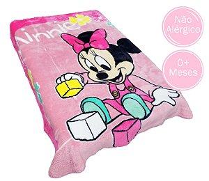 Cobertor Infantil Raschel Plus Disney - Miney Brincando - 90 cm x 1,10 m  - Ref.: 62005
