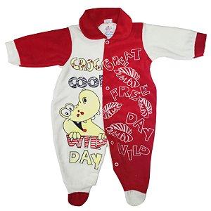 Macacão Plush Vermelho Croco Cool - Carolina Baby (Ref. 09385)