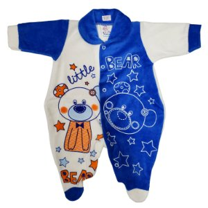 Macacão Plush Azul Royal - Estampas Variadas - Carolina Baby (Ref. 09385)