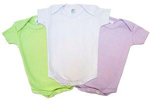 Body manga curta Verde, Roxo e Branco - Tamanho RN - Carolina Baby - Pacote com 3 peças (Ref. 09410)