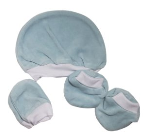 Kit Touca, luva e sapatinho Azul claro - Fofinho - Ref.: 093