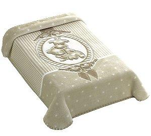 Cobertor premium c/ relevo bege - Colibri - Ref.: 47658