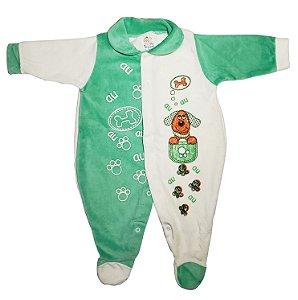 Macacão de Plush c/ pé Verde - Estampa Variadas - Carolina Baby - Ref.: 09385