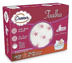 Toalha Cremer Luxo Estampa Rosa - 120 cm x 70 cm - Ref.: