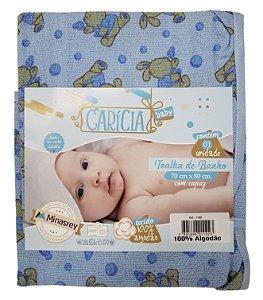 Toalha de Banho c/ Capuz Azul - Estampas Variadas - 70 cm x 80 cm - Carícia - Ref.: 1102