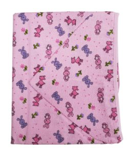 Toalha de Banho c/ Capuz Rosa - Estampas Variadas - 70 cm x 80 cm - Carícia - Ref.: 1102
