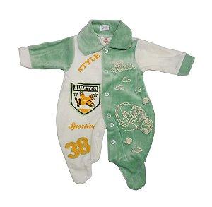 Macacão de Plush Prematuro Verde - Estampas Variadas - Tam. PP - Carolina Baby - Ref.: 09139