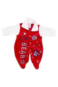 Macacão de Plush Prematuro Vermelho - Estampas Variadas - Tam. PP - Carolina Baby - Ref.: 09140